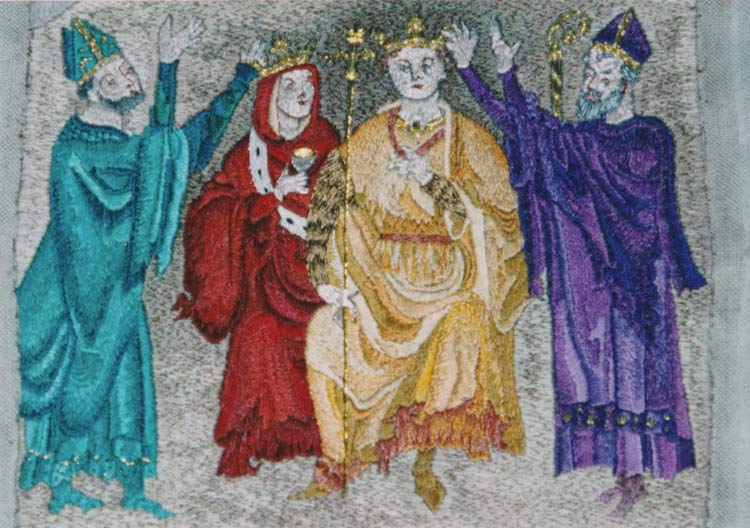 King Arthur is crowned- detail from Monmouth Priory Tapestry