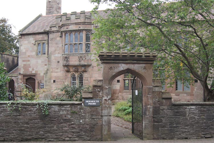 Looking through gate to Monmouth Priory