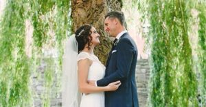 wedding couple at Monmouth Priory