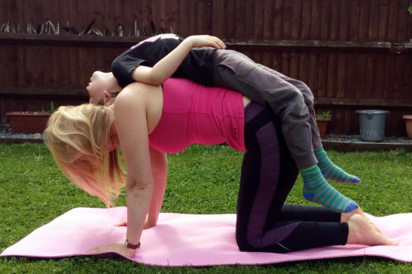 big dog little dog parent and child yoga